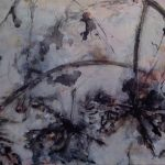 Afblomstret V, akryl, grafit og tusch på lærred 68 x 107, 4.800kr